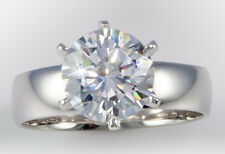 4 ct (10mm) Extra Brilliant Ring 5 mm Band Top CZ  14K White Gold Sz 4.25