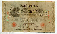 ALLEMAGNE - 1910, BILLET 1000 MARK rouge, RED SEAL, GERMANY