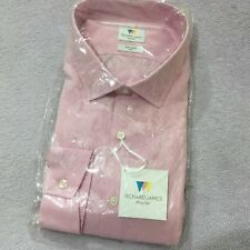 "RICHARD JAMES Shirt 17.5"" 44cm Slim PINK DIAMOND JACQUARD Mens Button Cuff Shirt"