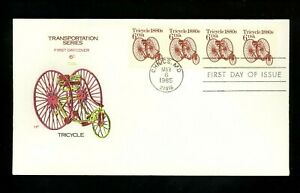 US FDC #2126 House of Farnam Cachet Transportation Tricycle coils 5/6/1985