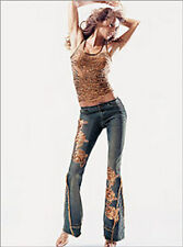 VICTORIA' SECRET SEQUIN LACE EMBELLISHED BOHO FLARED FRAYED JEANS 12 RARE!   SFS
