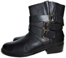 Ted Baker Black Leather Belted Flat  Riding Boots Motorcycle Bootie 40 - 9
