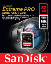 SanDisk 32GB Extreme Pro SD 95MB/s 4k HD Class 10 SDHC Camera Card SDSDXXG-032G
