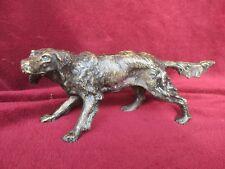 ancienne statuette en bronze-fin18ème-chien de chasse-setter à l'arret-animalier