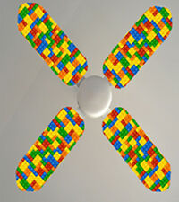 Lego blocks colourful Ceiling fan sticker skins children bedrooms wall decor