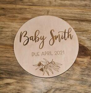 Baby pregnancy announcement disc/plaque board. Nursery Décor 15cm (150mm)
