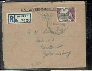 BASUTOLAND COVER (P0506B)1966 QEII 10C REG MASERU TO JO BURG
