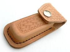 TAN LEATHER 10cm USA made FOLDING Pocket/Hunting Knife SHEATH
