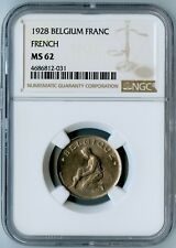 1928 BELGIUM NGC MS62 (FRENCH) FRANC! ONLY 1 GRADED FOR 1928 & THIS IS IT!