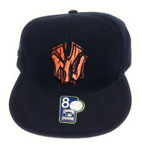 Mens New York NY Yankees Mitchell & Ness Black Orange Baseball Fitted Hat Cap