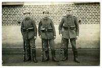Antique WW1 military RPPC postcard portrait of 3 German soldiers in uniform