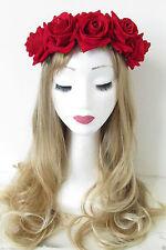 New Bridal Flower Rose Garland Crown Hair Band Wedding Headband Headpiece Decor