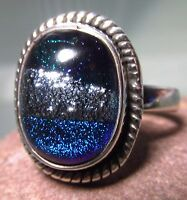 Sterling silver 925 blue tones DICHROIC GLASS ring UK N¾/US 7.25