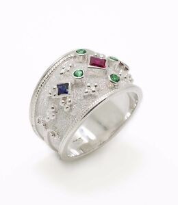 Princess Cut Ruby Ring, Etruscan Multistone Sterling Silver Ring Vintage Style
