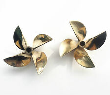 "New 1Pair Propeller 26cc Brass Prop 6717 1/4"" Shaft 4 Blade 67mm OD RC Boat"