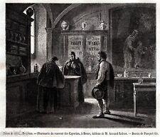 Roma: La Farmacia del Convento dei Cappuccini. Medicina. Stampa Antica. 1863