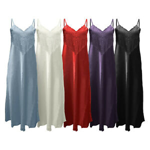 Womens Long Full Length Silky Satin Strappy Nightdress Nightie with Lace Detail