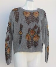 SEE U SOON Beautiful Grey Long Hair Sweater with Rust & Gold Colored Motif Sz 6