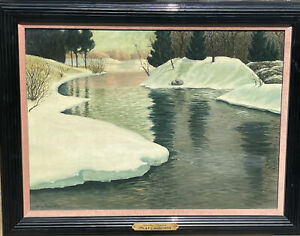 Antique Sweden ? Landscape Snow Oil Painting Olaf Lundstrom Mystery Artist