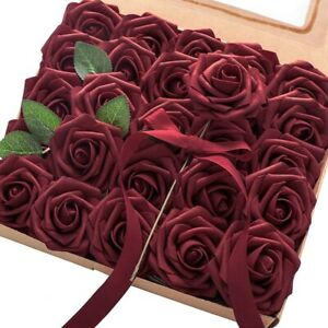 Artificial Flowers 25Pcs Real Looking Burgundy Fake Roses with Stems for DI G9N1