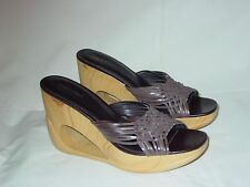 Womens Retro Style Simulated Wood Platform Heels Sandals Shoes Close To Size 9