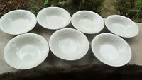 GIBSON FOUR SEASONS SET OF 7 SOUP SALAD BOWLS WHITE EMBOSSED FRUIT FLOWER 8""