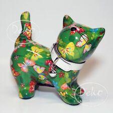 POMME PIDOU - exklusive Spardose - Keramikfigur KATZE KITTY grün / Schmetterling