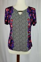 Tanjay Petites Womens Petite Small short sleeve top floral blouse Stretch Sz PS