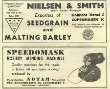 1953 Nielsen And Smith's Copenhagen Export Seed Grain Barley Speedomask Notam Ad