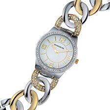 NEW Rousseau 9409 Womens Angelica Austrian Swarovski 2-Tone Twist Bracelet Watch