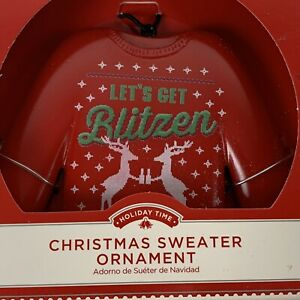 Christmas Ornament Red Sweater Let's Get Blitzen Holiday Time New in Box
