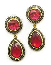 14k Gold Pink Sapphire Sim Earrings Champagne Diamonds Pave Long Stud Posts