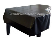 """Piano Cover for Pianos 9'0"""" to 9'1"""" Black Vinyl - Side Slits and Locking Straps"""