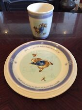 Unusual Peter Rabbit 2001 Frederick Warne Wedgwood Beaker And Plate