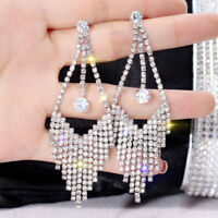Luxury Crystal Tassel Drop Earrings Women Fashion Party Jewelry Tassel Earrings