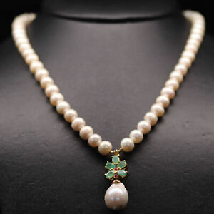 """NATURAL WHITE PEARL, EMERALD & RUBY NECKLACE 20.0"""" 925 STERLING SILVER"""