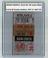 1963 Mickey MANTLE PINCH HIT HR #416 Vintage Baseball Ticket Stub NY Yankees 1