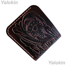 Brown Tooled Genuine Leather Wallet with Floral Motifs Unisex ID Card Holder