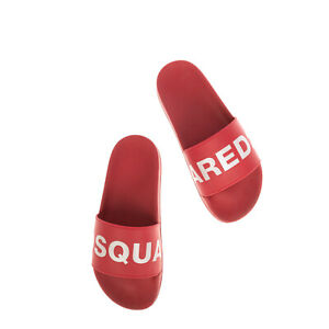 RRP €160 DSQUARED2 Slide Sandals EU39 UK5 US6 Footbed Logo Print Made in Italy