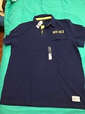 Nautica NEW Blue Mens 2XL Slim NS-83 Embroidered Polo Rugby Shirt