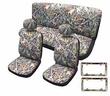 Camo Seat Cover Front Pair Headrests License Set Fits Dodge RAM