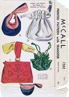 McCall Pattern #1262 Handbags Purse Bags Fabric Sewing Vintage 1940's Bolso Sac