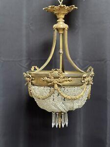 Antique Vintage French Empire Victorian Bronze Crystal Beaded Basket Chandelier
