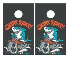Shark Rider Cornhole Board Vinyl Decal Wrap Sticker Skin Funny Joke