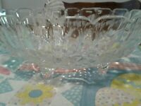 Vintage Indiana Glass Heavy Footed Oval Harvest Grape Clear Glass Fruit Bowl