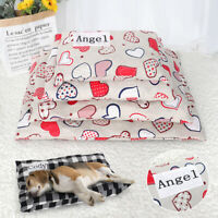 Washable Personalized Dog Bed with Name Custom Pet Cat Mat Cushion Kennel S-XL