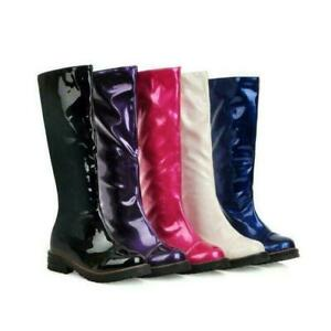 Womens Shiny Knee High Boots Pull On Casual Knight Patent Leather Low Heel Shoes