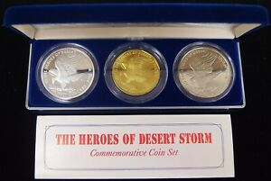1991 Marshall Islands The Heroes Of Desert Storm 3 Coin Comm Set 1oz .999 Silver