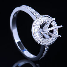 6-6.5mm Round Solid 10K White Gold Natural Diamonds Engagement Semi Mount Ring