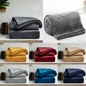 Faux Fur Soft Mink Fleece Warm Large Sofa Bed Blanket Double King Size Bed Throw